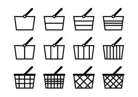 Conjunto de ícones de carrinho de supermercado vetor