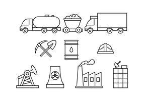 Vetor livre de fábrica e indústria do ícone da linha