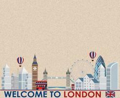 postal vintage em branco com pontos de referência de Londres vetor