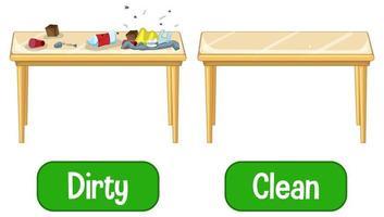 palavras adjetivas opostas com sujo e limpo