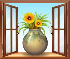 flor em vaso perto da janela vetor