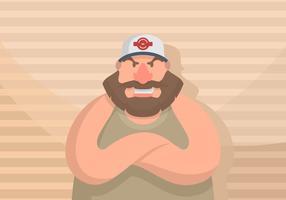 Guy em uma ilustração do chapéu do camionista vetor