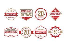 Coleção gratuita do emblema do aniversário vetor