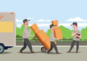 Homem movendo carregando caixas de papelão vetor