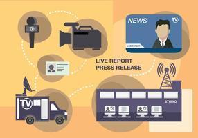 Press Release Live Report Ilustração vetor