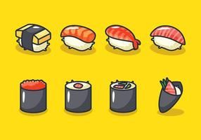 Conjunto de ícones de sushi vetor