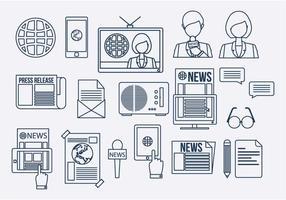 Vector de ícones de linha de rede de mídia