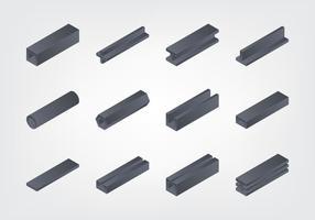 Coleção de vigas isométricas vetor