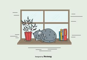 Vetor do gato dormindo