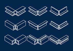 Conjunto de ícones vetoriais da viga vetor