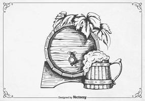 Barril de cerveja gravado com lúpulo e caneca vetor