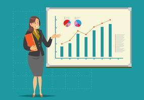 Vector de apresentação de mulher de negócios