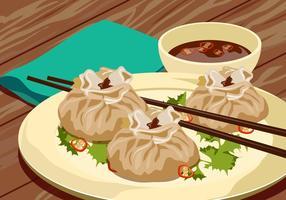 Dumplings de carne cozida no vapor vetor
