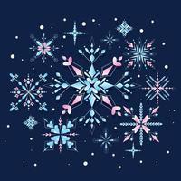 lindo floco de neve com cor brilhante vetor