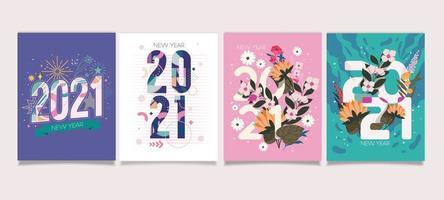 Cartão de ano novo de 2021 com lindos tons pastel