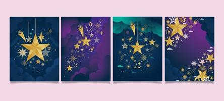 cartão estrela cintilante com tons de roxo e índigo vetor