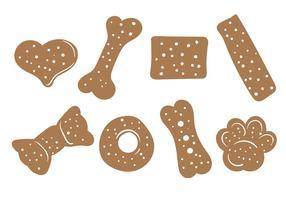 Ícones do vetor do biscoito do cão