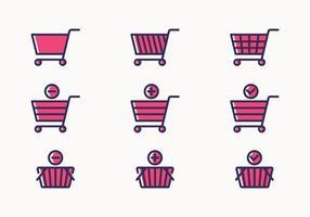Conjunto de ícones do carrinho de compras vetor