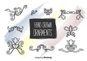 Vector desenhado à mão de ornamentos