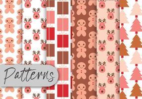Pink Christmas Pattern Set vetor