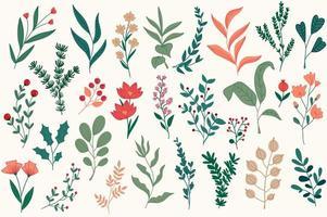 decorações florais definidas para cartões postais de Natal.