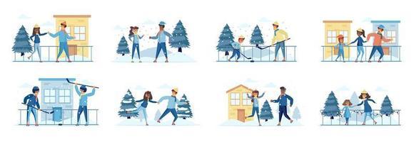 conjunto de cenas de atividades esportivas de hóquei e patinação