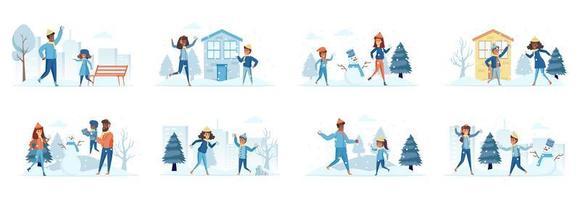 Conjunto de cenas de férias de inverno com personagens de pessoas