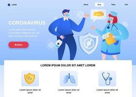página de destino plana do coronavírus com médico falando