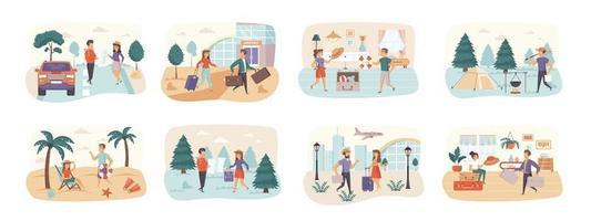 viagens férias pacote de cenas com personagens de pessoas vetor