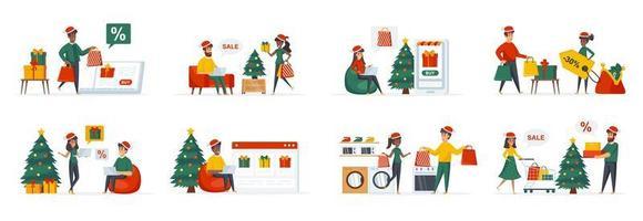pacote de compras de natal com personagens de pessoas vetor