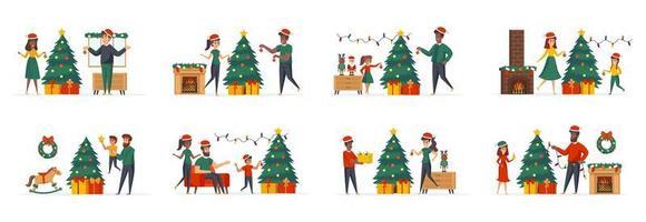 decoração de árvore de natal, conjunto de cenas com personagens de pessoas vetor
