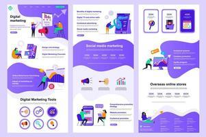 página de destino plana de marketing digital