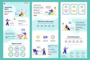 página de destino plana do espaço de coworking