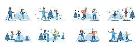 conjunto de cenas de esportes de inverno com personagens de pessoas vetor