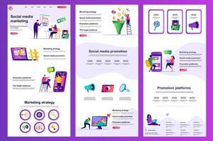 página de destino plana de marketing de mídia social