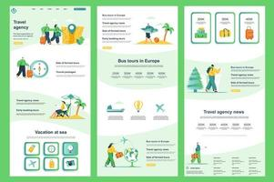 página de destino plana da agência de viagens