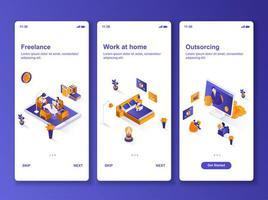 trabalho em casa kit de design gui isométrico vetor