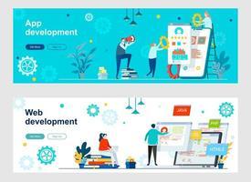página de destino de desenvolvimento de aplicativos e web com personagens de pessoas vetor
