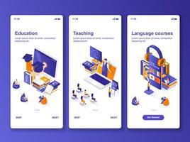 cursos de línguas isométrica gui design kit vetor