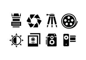 Ícones acessórios para câmera vetor
