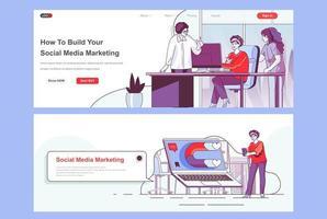 conjunto de páginas de destino de marketing de mídia social vetor
