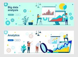 página de destino de análise de big data com personagens de pessoas vetor