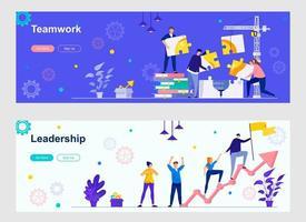 trabalho em equipe e página inicial de liderança com personagens pessoais vetor