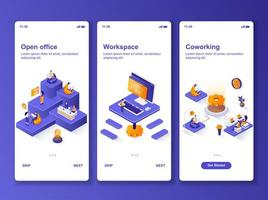 kit de design isométrico de escritório aberto vetor