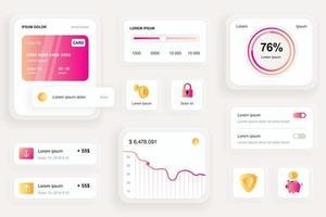 elementos gui para aplicativo móvel bancário vetor