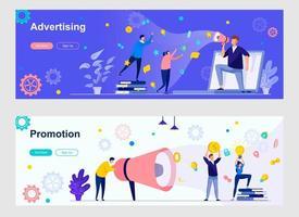 página de destino de publicidade e promoção com personagens de pessoas vetor
