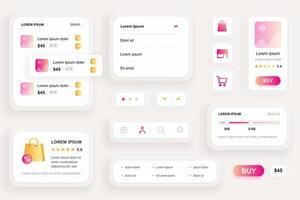 elementos gui para aplicativo móvel de compras
