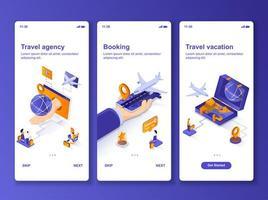 kit de design gui isométrico de férias para viagens vetor