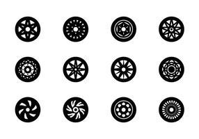 Conjunto de ícones das rodas vetor