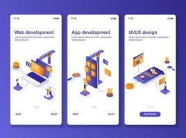 kit de design gui isométrico de desenvolvimento web vetor